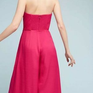 Anthropologie Pants & Jumpsuits - Maeve Brin Pink Strapless Wide Crop Leg Jumpsuit